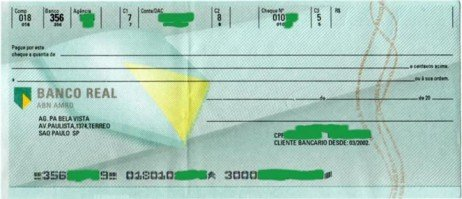 Cheque do Banco Real